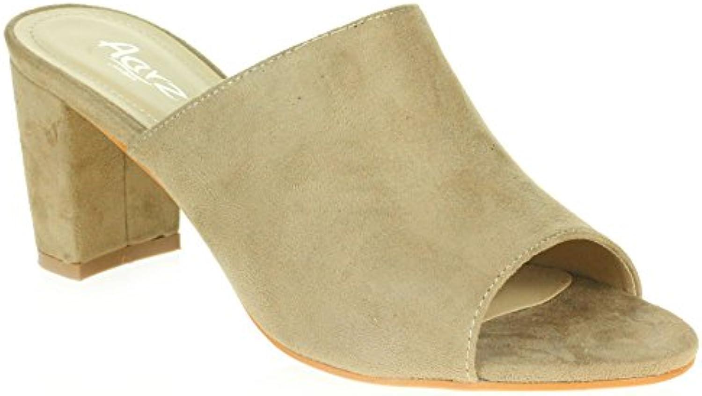 AARZ LONDON Frau Damen Lässige Mule Offener Zeh Weich Mittel Blockabsatz Schlüpfen Party Sandalen Schuhe Größe