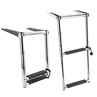 Amarine-made 2 Step Telescoping Swim Marine Boat Ladder Stainless with Built in Handle