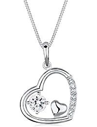 Elli Damen-Kette mit Anhänger Herz 925 Sterling Silber Swarovski Kristall weiß Brillantschliff 0110441314_45