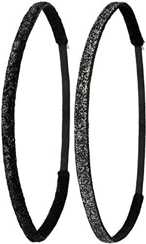 Ivybands® | Das Anti-Rutsch Haarband | 2-er Pack | Double Pack II |Special Glitzer Schwarz, Schwarz Glitzer | One Size | IVY212 IVY261