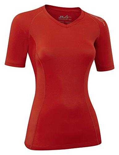 sub-sports-elite-rx-maglietta-a-maniche-corte-a-compressione-strato-base-da-donna-rosso-rosso-s