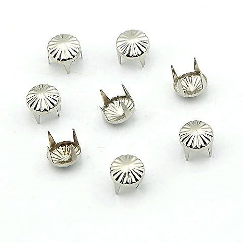 OOCOME 100pcs 9mm Runde Regenschirm Form-Silber-DIY Metallbolzen 4 Prongs Spots