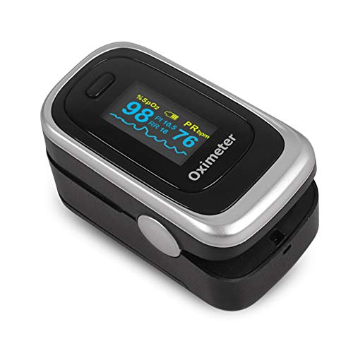 SXFYMWY Finger-Pulsoximeter tragbar mit Schlafüberwachung Speicher-Herzfrequenz-Erkennungsfunktion Finger-Oximeter,Silver,62x32x33mm