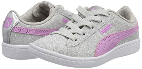 Puma Girls Vikky Glitz AC PS Low-Top Sneakers  Silver-Orchid  2 5 UK 2 5 UK