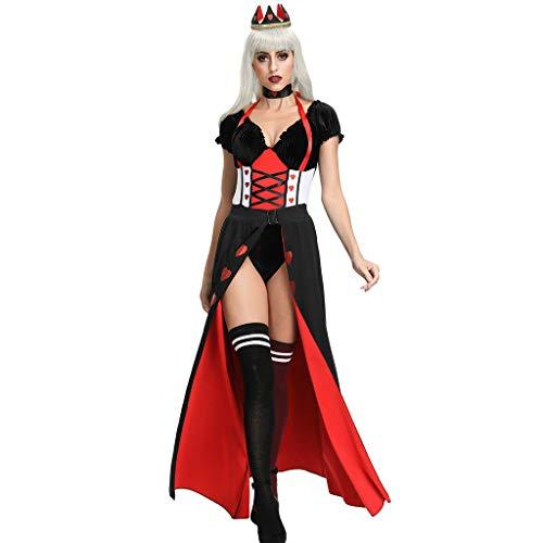 LOPILY Kostüm Damen Erwachsenkostüm Königin Kleid Oberteil Kopfschmuck Halloween Kostüm Damen Sexy Kanerval Fashingskostüme Gruselige Halloween Party Bekleidung (KEIN Strumpfhosen KEIN Schuhen) (36)