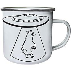 OVNI secuestrando una llama negra Retro, lata, taza del esmalte 10oz/280ml w395e