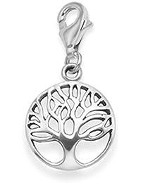 Pendientes de plata de ley de árbol de plata de vida encanto–TAMAÑO: 12mm. Yggdrasil Clip en encanto. En caja regalo. 8097tr/b41hn