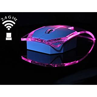 AISI Transparent Wireless Mouse with USB Receiver Bright Colored Lights-2.4GHz, Ultra Thin for Computer, Laptop, PC, Laptop, Blue, Pink, White pink Pink
