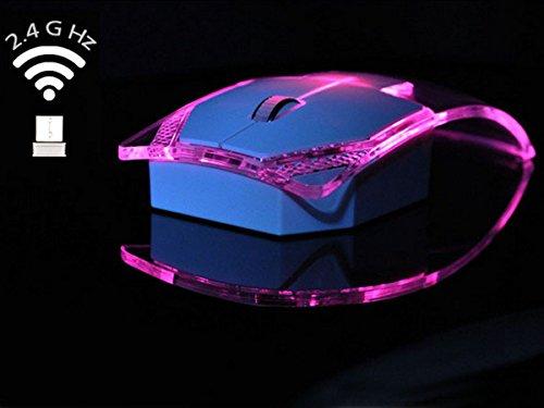 AiSi Transparente kabellos Maus mit USB-Empfänger Leuchtende bunte Lichter, 2.4Ghz, Ultra-dünn für Computer, Notebook, PC, Laptop Pink