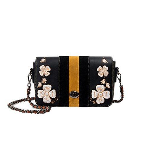 Messenger Bag Bestickte Kleine Quadrat Tasche Scrub Umhängetasche Black