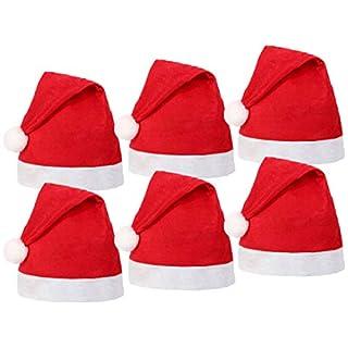 Alsino Weihnachtsmütze Farbe: rot, Größe: Kopfumfang 27 cm Nikolausmütze Weihnachten Nikolaus 6er Set Erwachsene aus Filz mit Bommel Wm-32