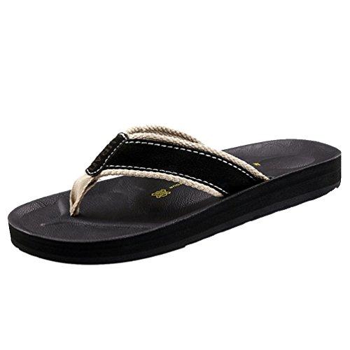 Baymate Hommes Flip Flops Non-slip Plage Pantoufles Sandales Tongs Noir