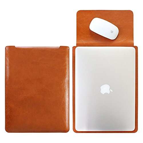 Mikrofaser Leder Laptop Sleeve Slim Case Cover Luxus PU Ledertasche Elagant Schutzhülle integriert Mousepad f. Macbook Pro & Pro Retina 15,4