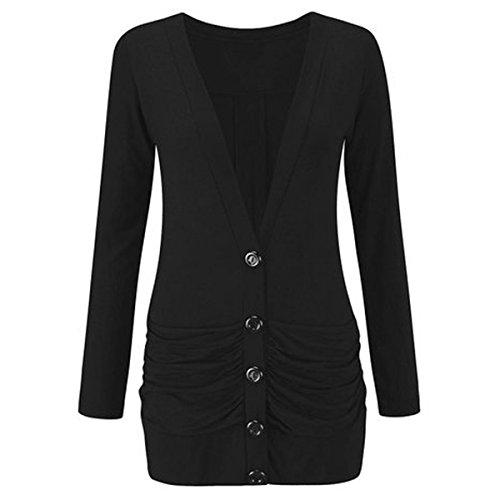 FASHION CHARMING pour femme à manches longues et à boutons Blazer cardigan Boyfriend Poches Casual Jersey Femme Noir - Noir