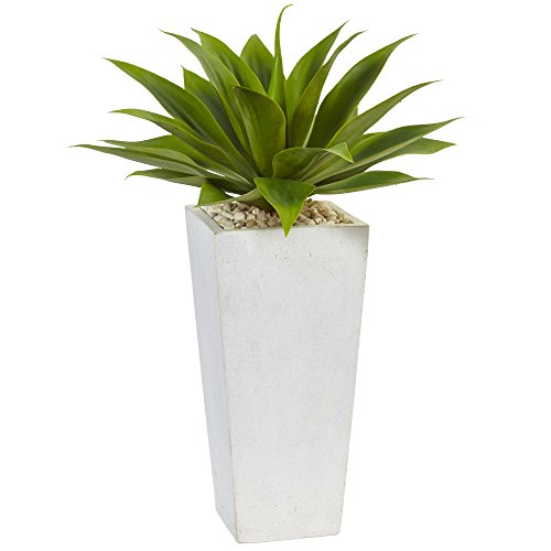 Fast natur Agave Kunstpflanze in weiß Übertopf, Grün