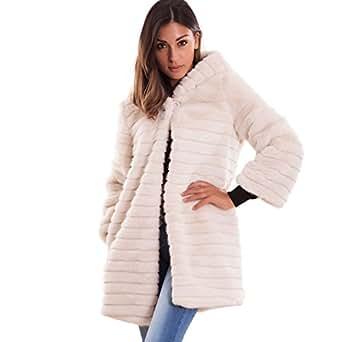 Toocool - Pelliccia ecologica donna bottone cappuccio cappotto maniche lunghe nuova 16009 [S,bianco]