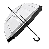 PERLETTI 26019 Transparent Umbrella for Women - Clear Dome Bubble Stick Brolly - Black Border - Strong Windproof and Resistant - Diameter 89 cm
