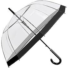 Paraguas Transparente Mujer - Paraguas Clásico de Burbuja Automatico - Borde negro - Resistente Antiviento - 89 cm de diámetro - Perletti Time
