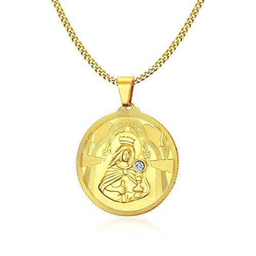 Männer Golden Mary Mutter Von Jesus Runde Medaillon Cz Anhänger Halskette Edelstahl St Benedict Jungfrau Maria Halsketten Schmuck