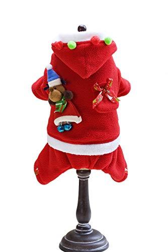 Haibuy Haustier Weihnachten Kostüm Hund Anzug mit Kappe Santa Claus Mantel Winter Warm Kapuzenpullover für kleine Hunde Katzen Lustige Haustier Cosplay Weihnachten Party Kleidung