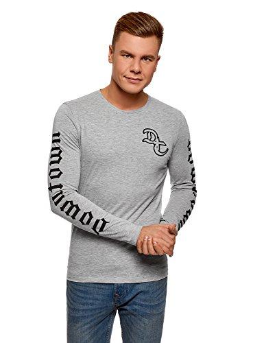 Oodji ultra uomo t-shirt in cotone con stampa senza etichetta, grigio, it 50-52 / eu 52-54 / l