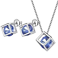 Aurora Tears June Birthstone Necklace Stud Earrings 925 Sterling Silver Blue Alexandrite Square Birth Stone Jewellery Set Gifts for Women and Girls DS0028U