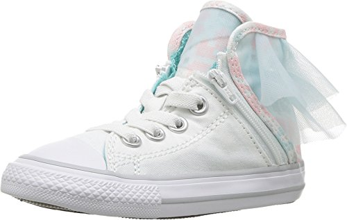 Converse Girls CTAS Block Party High Top Lace up Shoes (5 M US Toddler, White/Glacier Blue) (Converse Girls High Tops)