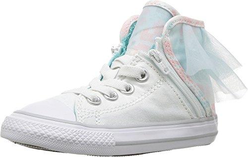 Block Party High Top Lace up Shoes (5 M US Toddler, White/Glacier Blue) ()