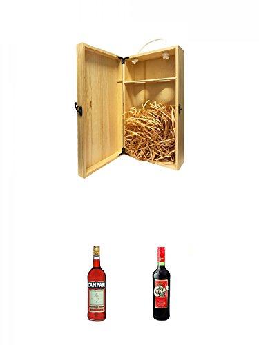 1a Whisky Holzbox für 2 Flaschen mit Hakenverschluss + Campari Bitter aus Italien 0,7 Liter + Cynar Artischocken Bitter aus Italien 0,7 Liter