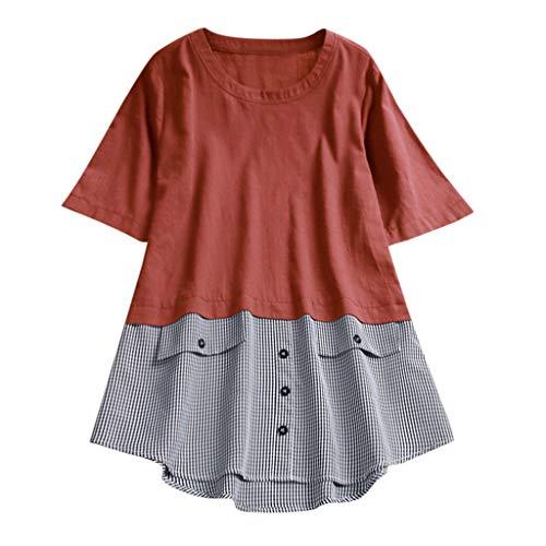 Linen Große Größe T-Shirt für Damen/Dorical Mode Frauen Kurzarm Rundhals Knopf Plaid Tops Casual...