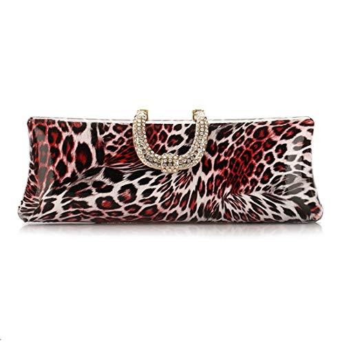 Strass Leopard-druck-handtasche (QARYYQ Gezeitenbeutel-Handtaschen Leopard-Druck-Parteibeutel Europäische Und Amerikanische Art Und Weise Abendtasche Diamant-verkrustete Handwerkstasche Abendpaket)