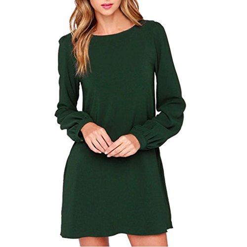 Honestyi Arbeitskleidung der Frauen kleidet beiläufige lange Hülsen Minikleid lose Partykleider Casualkleider Kleines Schwarzes (S, Grün)