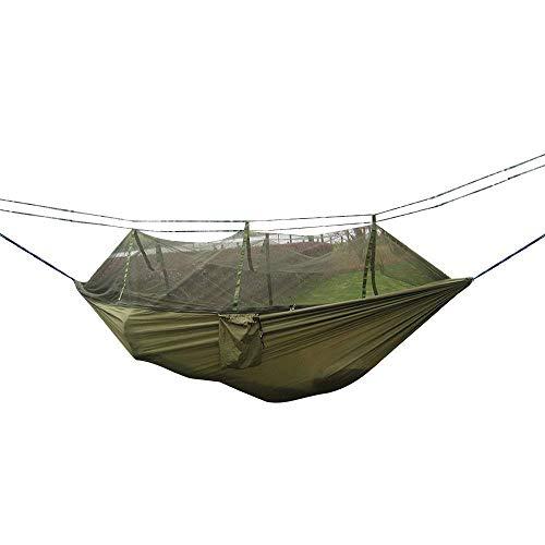 Eidoct Hamaca de Camping mosquitera para Camas de Viaje al Aire Libre, Ligera, Tela de paracaídas, Hamaca Doble para Interior Camping Senderismo Mochila Patio – Verde
