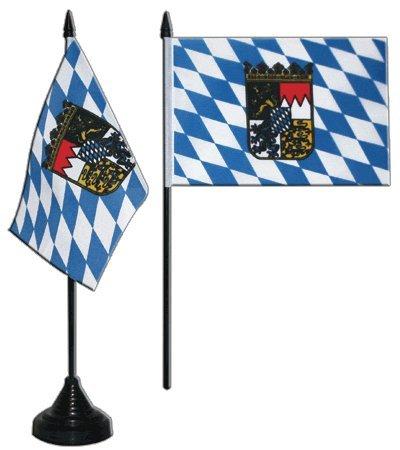 Digni® Drapeau de table Allemagne Bavière avec blason, mini drapeau - 10 x 15 cm