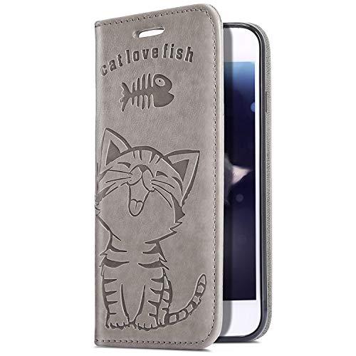 Upoao Kompatibel mit Samsung Galaxy A8 2018 Hülle, Retro Vintage Katze Muster Ledertasche Wallet Handyhülle Flip Hülle Leder Klapphülle Book Case Handytasche Schutzhülle Ständer,Grau