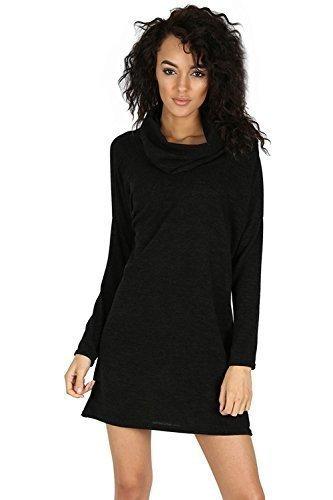 Fashion Star Women's Jumper Casual Dress M/L (Uk 12/14) Black