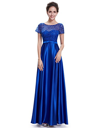 Ever Pretty Robe de Soiree Robe Ceremonie Maxi Col Rond Elegante 08668 Bleu saphire