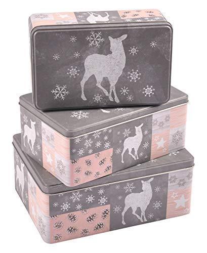 Buri Weihnachtsdosen 3er-Set Plätzchendose Gebäckdose Keksdose Vorratsdose Deko eckig, Variante:Hirsch