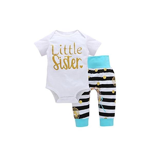 Trisee Trajes de recién Nacidos para 0-24 Meses Bonita Letra Estampado de Mameluco Mono y Raya Pantalones Largos 2Pcs… 1