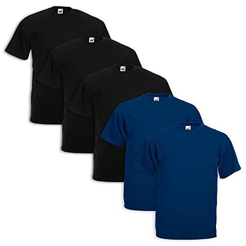 Fruit of the Loom - Lot 5T-shirts 3 Pezzi Nero 2 Blu Navy