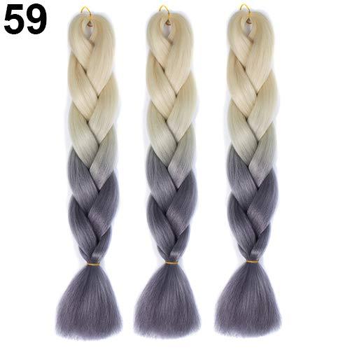 Kuizhiren1 Braid Hair for Women, 1 Stück Afrikanische Blackman Color Gradient Braid Hair Extensions, Flechtperücke - 59#
