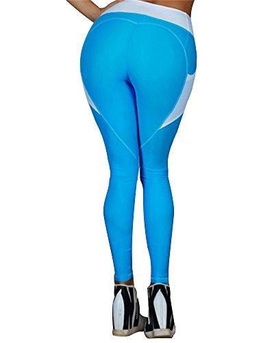 Donna Full Length Workout Sport Pantaloni Alta Vita Stretch Leggings Push Up Palestra Yoga Esecuzione Training Elastico Fitness Pants A Blu