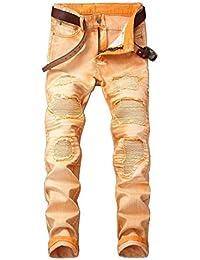 f9f1d88896ea5 ADELINA Pantalones Casuales Hombres Hombres Cintura Media Recta Rotos  Motocicleta Pantalones Ropa Vaqueros Rasgados Destruidos Jeans