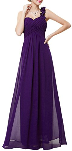 Damen Elegant One Shoulder Chiffon Faltenwurf Festkleider Hochzeitkleider (Land Dress Fancy)
