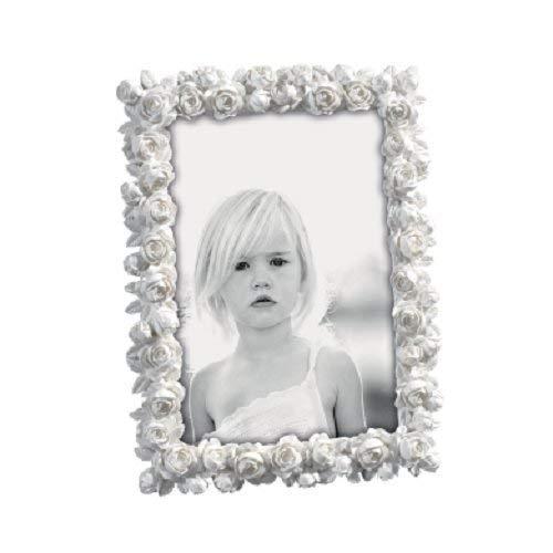 Cmbyn Bilderrahmen aus Elegante ¼ Sine kleinen Rosen in Frage Locken weiß 15 x 20 - Antik-weiß, Rustikales Holz