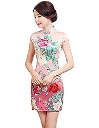 ACVIP Cheongsam Stampa Fiori Vestito Sopraginocchio Pink Gradato ef7f717d509