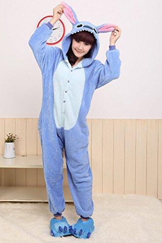 Imagen de disfraz/pijama kigurumi de stitch con capucha, unisex, color azul/rosa, stitch blue, l 170cm 180cm