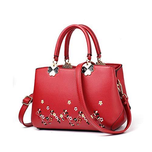 Yiwjby Damen Handtasche Schultertasche Aus Leder Damen Handtaschen Elegante Kurier Beutel Dame Beweglicher Freizeit Beutel Red -