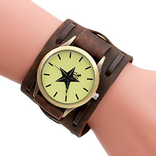 Hunpta Herren Leder Armband geflochten Wicklung Nieten Armband Uhren Armbanduhr (Braun)