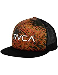 new style b4706 fd5c0 RVCA Trucker Print Flat Brim Snapback Hat Black Orange Osfa